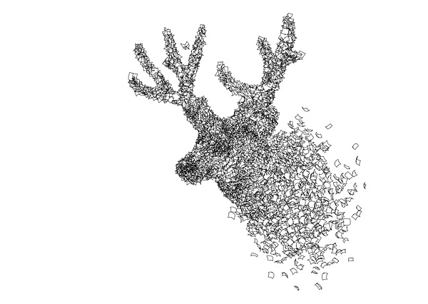 the animal shapes with autumn leaves were created using a particle system in 3d-space