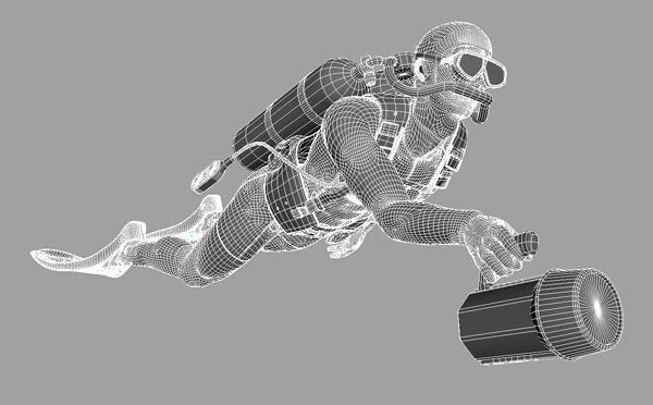 3d model of the diver