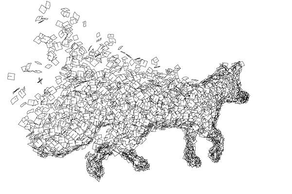 die Tiere aus Herbstblättern wurden mittels einem Partikelsystems in 3D umgesetzt und gerendert