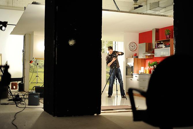 work on set in the photo-studio