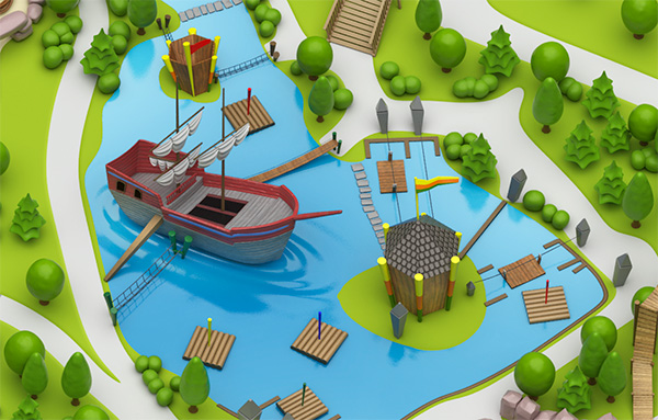 3D-Modell Playmobil Piratenschiff