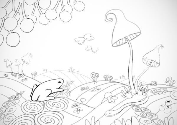 Skizze: Landschaft aus Fruchtgummies