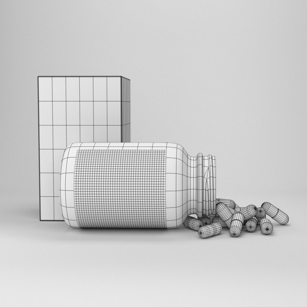 wireframe of the 3d model
